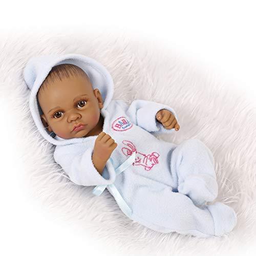 Leaysoo Reborn Baby 10 Zoll schwarz Baby blinkt blau Hoodie Boy Silikon Ganzkörper Kinder Geschenk für Alter 3 + Spielhaus Spiel (Halloween-nägel Und Blau Schwarz)