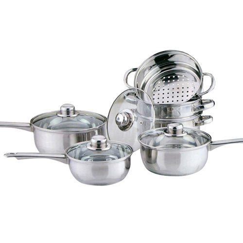 COOKWARE SET SAUCEPAN FRYING PAN POT STAINLESS STEEL NON STICK GLASS CERAMIC NEW (6PC COOKWARE STEAMER SET)