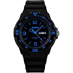 Amstt Men's Black Watches Military Sport Watch Waterproof Calendar Analog Watch Blue