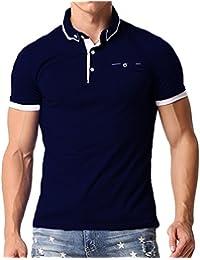 MODCHOK Homme Polo T-Shirt à Manche Courte Chemise Shirt Coton Casual Classique