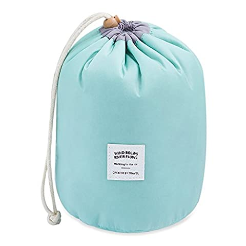 Mermaid Travel Cosmetic Bag Make up Pouches Barrel Shaped Toiletry Organizer Wash Bags Nylon High Capacity Drawstring Makeup Storage Bag + Mini pouch +PVC transparent brush bag