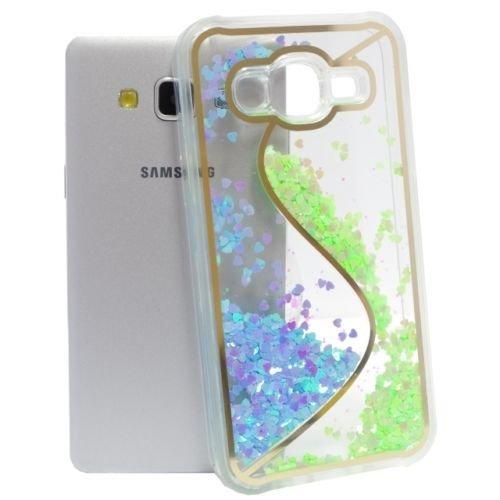 """FUN CASE """"S"""" für Iphone 4 / 4G Handy Cover Hülle Case Glitzer Sterne Flüssig Sternenstaub Hard Case (pink) grün"""
