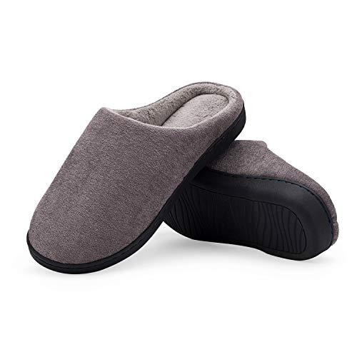 LeKuni Unisex Hausschuhe Memory Foam Pantoffeln Plüsch Wasserdicht, Gr.- 42-43 EU, Grau