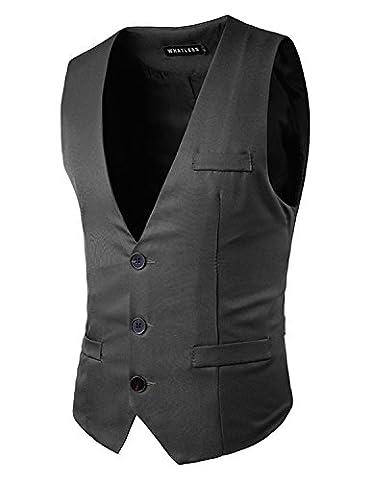 YCHENG Herren Anzugweste Freizeit Business Casual Weste Einfarbig, Gr. XL, Farbe Grau