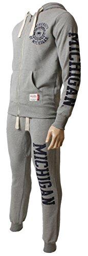 Herren American Freshman Trainingsanzug Kapuzen Fleece Trainingsanzug Top & Hose Gr. X-Large, Ath Grey Marl/Roding