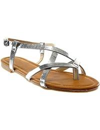 dee4f0c2e39 Angkorly - Zapatillas Moda Sandalias Chanclas Correa de Tobillo Mujer Piel  de Serpiente Correas Cruzadas Patentes