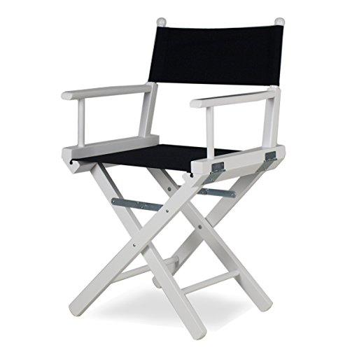 Sedia da regista pieghevole legno laccato bianco e tessuto nero - Regista P
