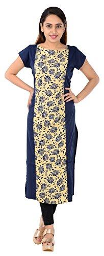 Florro Women's Indo Western Clothing Latest Designer Printed Blue and Cream Crepe...