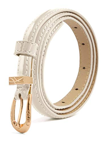 Betrothales Belt Dame Single Pin Gürtelschnalle Casual Chic Patent Pu Taille Gürtel Damengürtel Mode Vintage Lässige Jeans Taillengürtel Ledergürtel (Color : Ivory, Size : One Size)