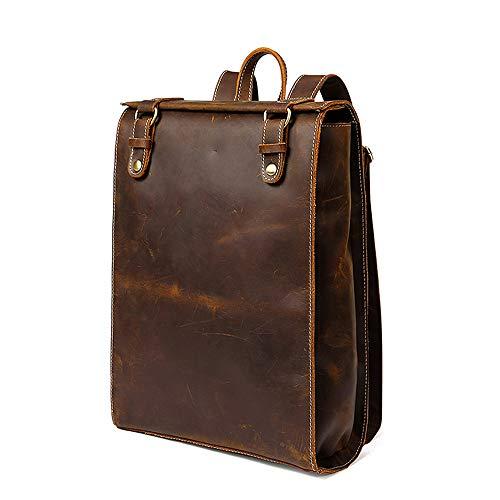BYEON Herren Leder Rucksack Tablet Rucksack Vintage Travel Office Bag große Kapazität Schule Umhängetasche, braun