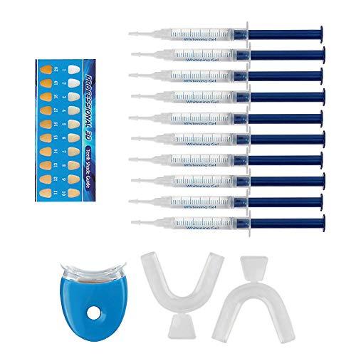 TeethWhiteningKit,ZuHauseProfessionelleZahnaufhellungSet,Zahnaufhellungs-Set,Zahnweiß-Bleichsystem,HomeBleachingKit,Wiederverwendbares,10x Teeth Whitening 2x Dental Trays Gel Kit & Laserlicht