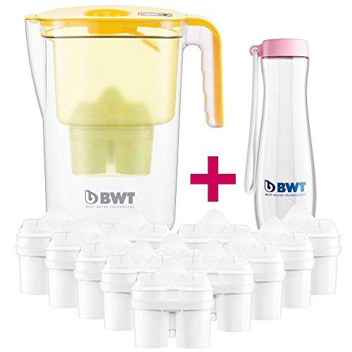 BWT Tischwasserfilter Vida 2,6l Gelb; Jahrespackung 12+1 Kartuschen, angereichert mit wertvollem Magnesium + Trinkflasche