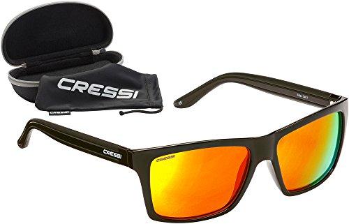 Cressi Unisex-Erwachsener Rio Sunglasses Sport Sonnenbrille Polarisiert und Antireflexion Sorgen für 100% igen Schutz vor UV-Strahlen, Matt Schwarz/Linsen Orange, Einheitsgröße