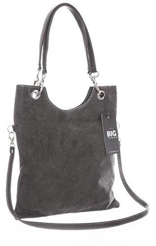 Big Handbag Shop in pelle scamosciata, Maniglia superiore sera frizione borsa a tracolla Dark Grey (ST553)