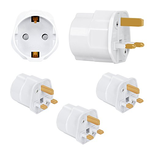Incutex 3x Adaptor para viaje UK GB Inglaterra Adaptor para viajar UE Schuko 2-Pin en UK 3-Pin Viaje Adaptor de enchufe en blanco