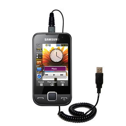 Aufgewickeltes USB-Kabel kompatibel mit Samsung GT-S5600 Preston mit den Funktionen Datentransfer und Aufladen Verwendet die TipExchange Technologie
