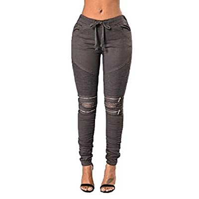 Internet Women Denim Skinny Ripped Pants Zipper Stretch Jeans Slim Pencil Jeans Trousers