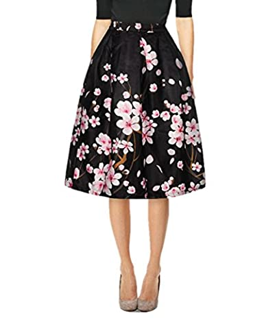 Uideazone Fashion Women Floral A-Line High Waisted Pleated Midi Skirt Black L