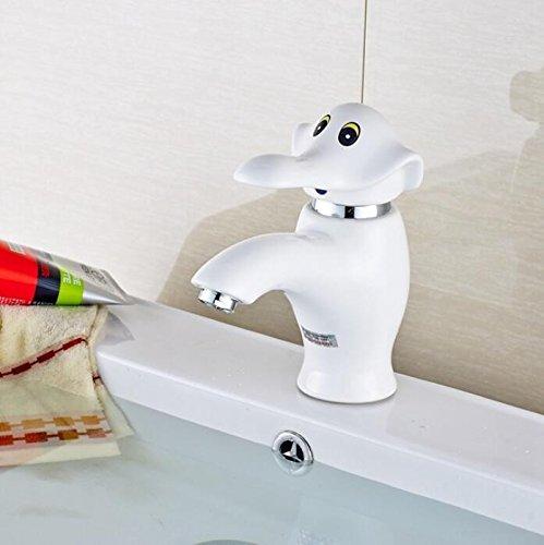 Ytdzsw Adorable Elefante Montado En La Cubierta De Pintura Blanca Grifo Lavabo Lavabo Grifo Mezclador