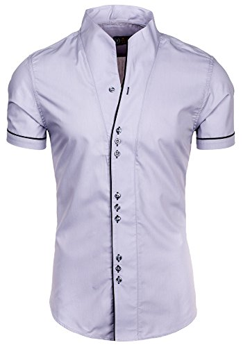BOLF - Chemise casual – manches courtes - Homme Gris