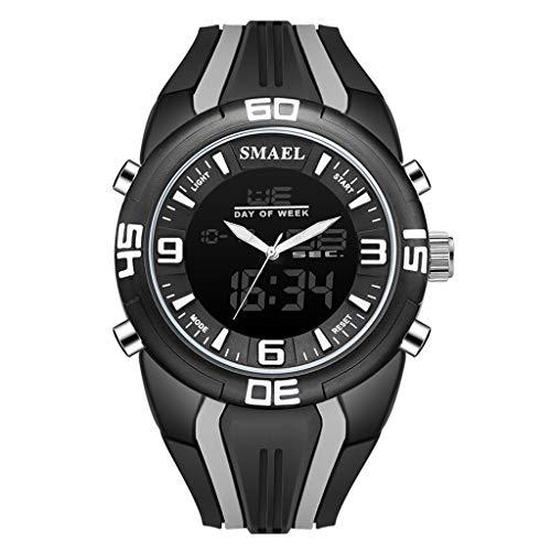 LABIUO Herren-Sportuhr mit Dual-Time-Camouflage-Uhr LED(Grau,Freie Größe)