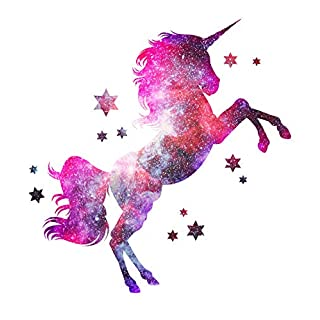 3D Sticker Cosmic Unicorn Full Colour Removable Wall Art Vinyl Stencil Decal Self Adhesive Decoration Deco Mural Tattoo Decor Size= XX-Large 110cm (w) x 57cm (h)