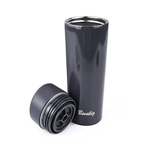 Thermobecher - Kaffeebecher, Auslaufsicher Kein Überschwappen - One Click, Einhandbedienung Vakuumisoliert Doppelwand - Edelstahl - Coffee to go becher 380 ml