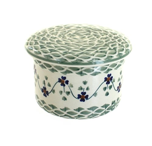 polish-pottery-sage-floral-french-butter-dish-by-blue-rose-pottery