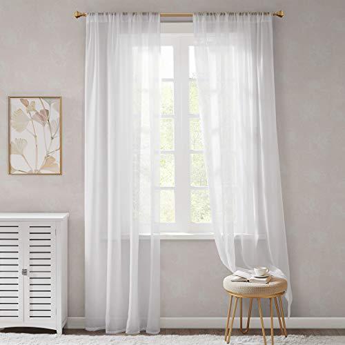 Gardinen Schals Weiß Leicht & Soft mit Stangendurchzug Voile Vorhänge Schlafzimmer Transparent Vorhang für große Fenster Organza, lang (2er-Set, je 245x140cm)