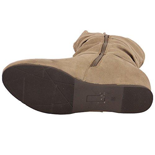 femmes cuir suédé LOOK Bottes Femmes Mi-Mollet chaussures compensé Cheville fermeture éclair Gland hiver NEUF kaki - AB0226