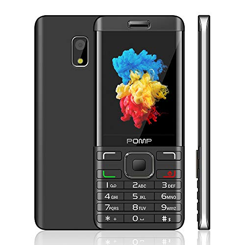 POMP Mobile Phone, 2.8-Inch SIM-Free Dual-Sim Mobile Phones With Camera Bluetooth FM Radio Big Button Easy to Use GSM Bar Feature Cell Phones(Black+Sliver)