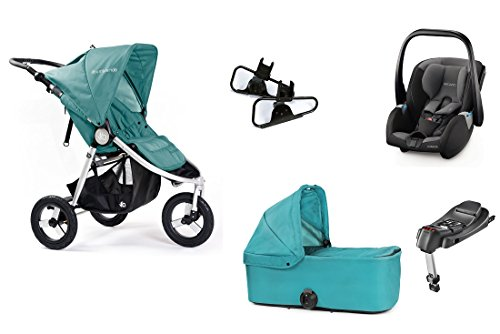 Bumbleride Kinderwagen XXL All in One, Indie Tourmaline, Carrycot, Adapter + Recaro Guardia Paket