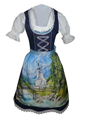 Di05 Midi Dirndl, 3 teiliges Trachtenkleid in Blau, Kleid mit Bluse und Schürze, Rocklänge 63-64 cm, Gr. 38