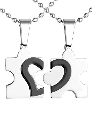 *JOVIVI Anhänger,2 Freundschaftsketten Herz Puzzle Love Edelstahl Partner-Anhänger mit 55cm Kette, Halskette für Damen & Herren,Silber Schwarz*