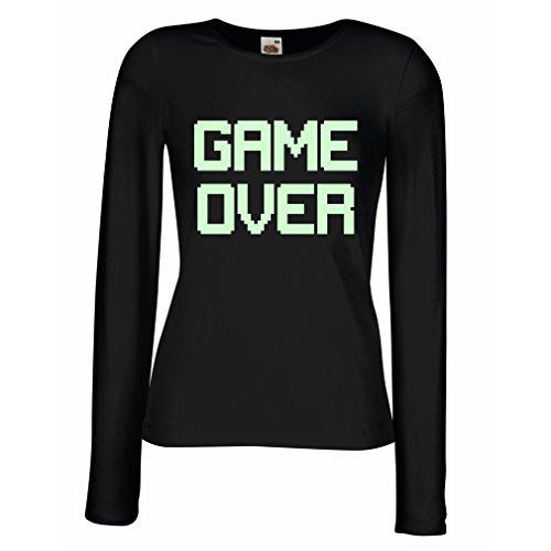 Weibliche langen Ärmeln T-Shirt Spiel über lustige Gamergeschenke (Medium Schwarz Fluoreszierend) (Video Spiel Kostüme Weiblich)