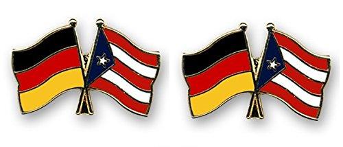 Yantec Freundschaftspin 2er Pack Deutschland Puerto Rico Pin Anstecknadel Doppelflaggenpin -