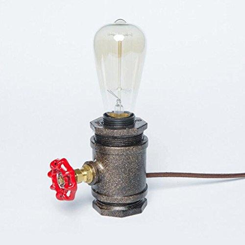Geschmiedet Schwarz Zwei Licht (Industrie-Retro-Wasser-Rohr-Ventil Tischlampe einfach geschmiedet Gusseisen Warm Licht Kontrolle Lampe Loft Studie Café Bar Dekoration Tischlampe Leuchtet - hoch 21cm, Breite 12.5cm, E27)