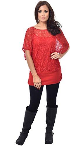 Parte superiore in pizzo con cappuccio da donna-interno Rosso