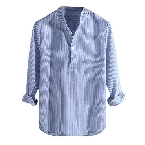 BURFLY Männer gestreiftes Knopf-Baumwolllanges T-Shirt der Männer beiläufige schnell trocknende Sportoberseite