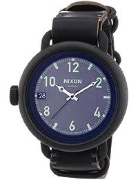 Nixon Herren-Armbanduhr XL October Leather All Black Analog Quarz Leder A2791001-00