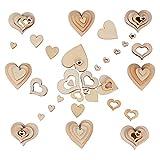 JNCH 400 STK / 4 Größen Holzscheiben Deko zum Basteln Holz Scheiben Herz klein Holzherz Dekoration Streudeko Tischdeko Verzierungen für DIY Handwerk Hochzeit Weihnachten Geburtstag Taufe Herzen - 4