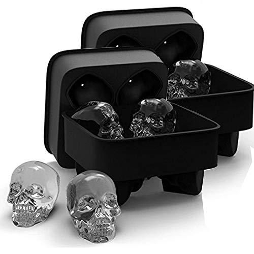 Große Größe 3D Skull Form Eisformen, SPESPO Schwarz BPA Gratis Silikon Eiswürfel Formschale mit Deckel, Macht 4tlg 5x6cm Lebendige Totenköpfe, Perfekt für Whiskey, Cocktail und Jedes Getränk (2 Sätze)