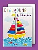 Feste Feiern Einladungskarten Kommunion I 5 Teile Karten Einladung Doppelkarten mit Briefumschlägen I Boot Fische Bunt 1. Heilige Kommunion