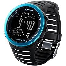SUNROAD FR720 Men Sports Fishing Watch - Digital Waterproof Stopwatch/Altimeter/Barometer/Thermometer LCD Display (Blue)