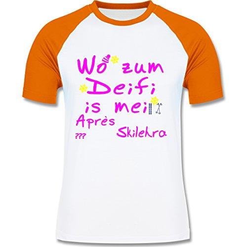 Après Ski - Wo zum Deifi is mei Apres Skilehra - zweifarbiges Baseballshirt für Männer Weiß/Orange