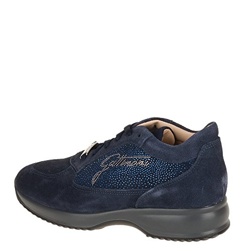 Gattinoni, scarpe donna, pigat6039wsa , sneakers, camoscio, brillantini, punti luce,zeppa, blu, 39