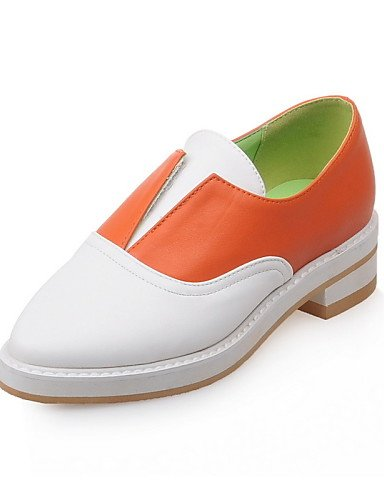ZQ gyht Scarpe Donna-Mocassini-Casual-Comoda-Basso-Finta pelle-Nero / Arancione , orange-us5 / eu35 / uk3 / cn34 , orange-us5 / eu35 / uk3 / cn34 orange-us3.5 / eu33 / uk1.5 / cn32