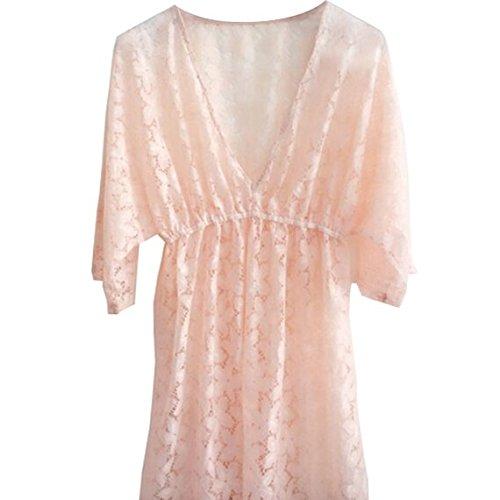 Frau Sommer Spitze Blumen elastisch Band Bademode Bikini Abdeckung Oben Strand Kleid Rosa