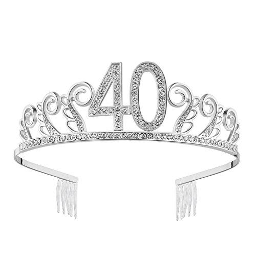 Babeyond Kristall Geburtstag Tiara Birthday Crown Prinzessin Geburtstag Krone Haar-Zusätze Silber Diamante Glücklicher 18/20/21/30/40/50/60 Geburtstag (40 Jahre alt Silber)