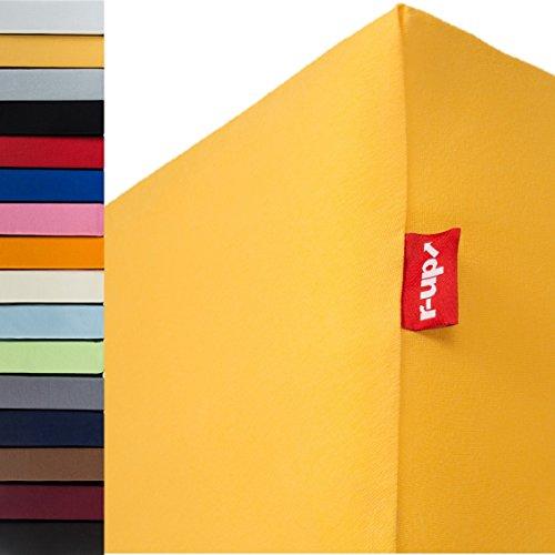 r-up Passt Spannbettlaken 140x200-160x200 bis 35cm Höhe viele Farben 100{cfb2937b852af151cf9833f2e5eb37522be199251cbb8de1ec86b52cae1f04e4} Baumwolle 130g/m² Oeko-Tex stressfrei auch für hohe Matratzen (Sonnengelb)